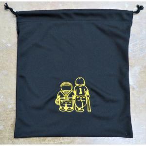 マエハラスポーツオリジナル グラブ関連小物 布製グラブ袋 ブラック(刺繍糸イエロー)  |maesupo