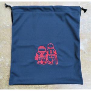 マエハラスポーツオリジナル グラブ関連小物 布製グラブ袋 ネイビー(刺繍糸レッド)  |maesupo
