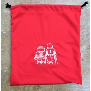 マエハラスポーツオリジナル グラブ関連小物 布製グラブ袋 レッド(刺繍糸ホワイト)  |maesupo