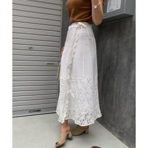 【シエルエアー】CIEL'AIR/コットンレースマキシロング巻きスカート|MAGASEEK PayPayモール店
