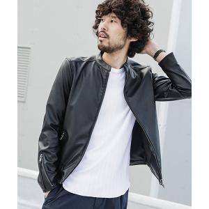 【ナノ・ユニバース】【WEB限定】シンセティックレザーライダースジャケット
