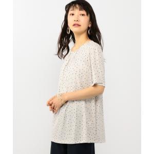 【エーシーデザインバイアルファキュービック】幾何柄ドットプリントチュニック