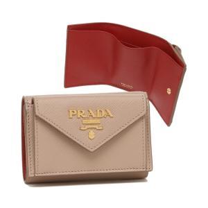【プラダ】プラダ 三つ折り財布 サフィアーノマルチカラー ミニ財布 ベージュ レッド レディース PRADA 1MH021 ZLP F0KNX MAGASEEK PayPayモール店