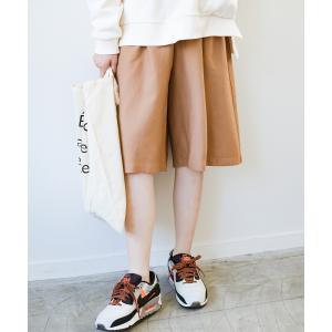 【ハコ】ぺたんこ靴でもさまになる 長め丈が安心な大人のリラックスハーフパンツ MAGASEEK PayPayモール店