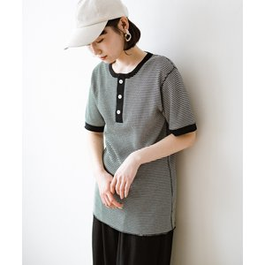 【ハコ】軽くて楽な着心地のベーシックワッフルヘンリーネックTシャツ by Healthknit MAGASEEK PayPayモール店
