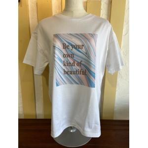 ディニテコリエ/Dignite Collier  マーブルPT Tシャツ AH-802020-70ホワイト×ブルー|magic-u-ladys