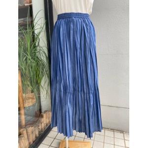 Hunch(ハンチ)  デニム風ランダムプリーツスカート WQN3925-87ブルー|magic-u-ladys