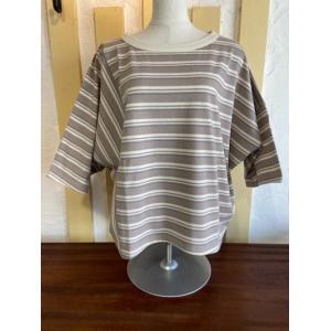カーキ/kha:ki WIDE ASYM TOP アシンメトリーTシャツ MIL-21HCS240B マルチボーダー|magic-u-ladys