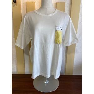 NATURAL LAUNDRY(ナチュラルランドリー) パネルポケットTシャツ 7211C-028-120オフホワイト|magic-u-ladys