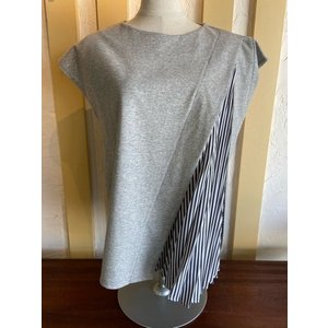 PASSIONE(パシオーネ) プリーツ使いTシャツ 026979-90グレー|magic-u-ladys
