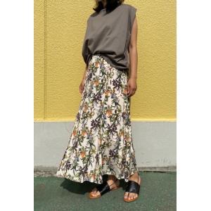 PRISCILLA BUS D'OR/プリシラバスドール 花柄ナローフレアスカート 3203514-A220ベージュ|magic-u-ladys