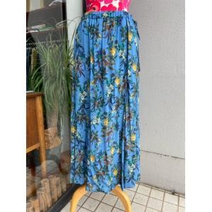 PRISCILLA BUS D'OR/プリシラバスドール 花柄ナローフレアスカート 3203514-B601ブルー|magic-u-ladys