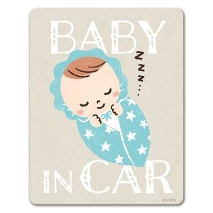 車ステッカー 赤ちゃん寝顔おくるみ星柄 BABY IN CAR ベビーインカー ベイビーインカー 車...