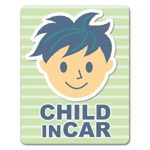 【車ステッカー】男の子笑顔 ツンツン頭【CHILD IN CAR】チャイルドインカー 車マグネットス...