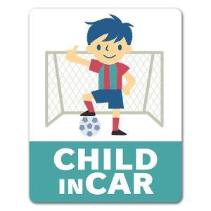 【車ステッカー】サッカーボールと男の子【CHILD IN CAR】チャイルドインカー 車マグネットス...