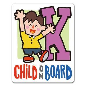 【車ステッカー】アルファベットシリーズ★男の子イニシャルK【CHILD ON BOARD】チャイルド...