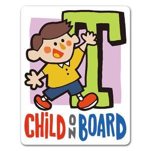 【車ステッカー】アルファベットシリーズ★男の子イニシャルT【CHILD ON BOARD】チャイルド...