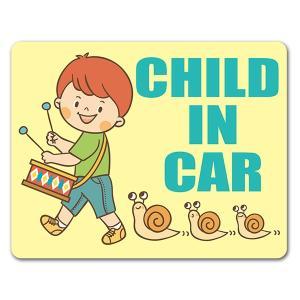 【車ステッカー】男の子とかたつむり【CHILD IN CAR】チャイルドインカー 車マグネットステッ...