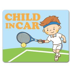 【車ステッカー】テニス フォアストロークの男の子 テニスコート【CHILD IN CAR】チャイルド...