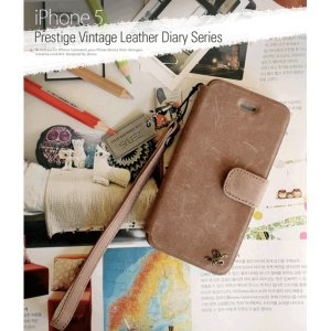 【送料無料】iPhone5 Prestige Vintage Leather Diary (mold type) (本革) Vintage Brown Z1399i5