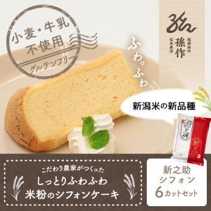 米粉のシフォンケーキ 新之助 6カットセット グルテンフリー 養生卵使用|magosaku-food