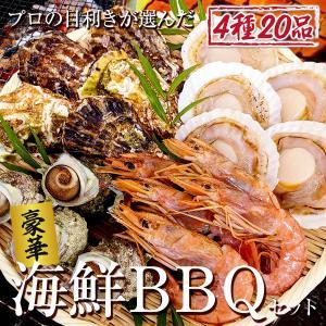 4種の 海鮮 バーベキュー セット 赤海老 殻付き 牡蠣・帆立 サザエ 2〜3人前 貝類 BBQ 家キャン|maguro441