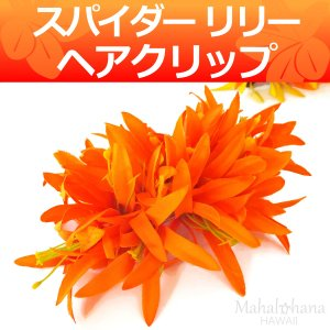 フラ ヘアクリップ スパイダーリリー (オレンジ) ベルベット 16cm ハワイアン  髪飾り|mahalohana