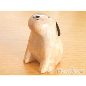 ぽれぽれ干支 (いぬ 犬 戌) 木彫り 置物 雑貨 ハンドメイド|mahalohana