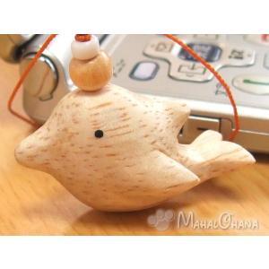 ぽれぽれ ストラップ (イルカ) 手作り木彫り ハンドメイド 動物雑貨|mahalohana