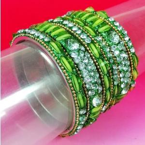 インドのバングル6本組み スチール チュリー 人工石装飾 太細コンビネーション 豪華版 緑 AC-BANG433|mahanadi