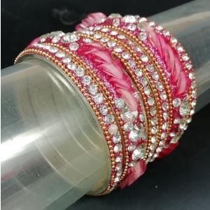 インドのバングル6本組み スチール チュリー 人工石装飾 太細コンビネーション 豪華版 ピンク AC-BANG434|mahanadi