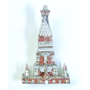 【ブローチ】タイのお寺を模したブローチ バッジ 仏教寺院 インド様式 ワット テラワーダ アジアン AC-BRCH201231-3|mahanadi