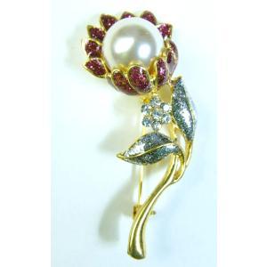 【ブローチ】タイ製 花と宝珠を模したブローチ バッジ アジアン AC-BRCH201231-5|mahanadi