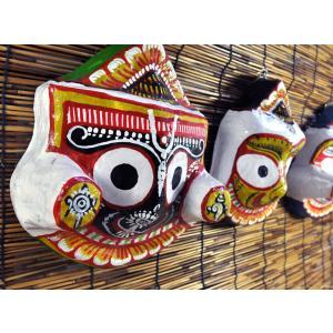 インドのジャガンナート三神のマスク 壁掛け ペーパーマッシュ オリッサ インド雑貨 アジアン雑貨|mahanadi