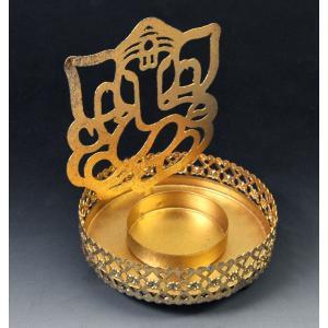 インド雑貨 ガネーシャのキャンドルスタンド 神様の陰影が浮かび上がる燭台 ろうそく立て ヒンドゥー教 エスニック DO-ST191211-1|mahanadi