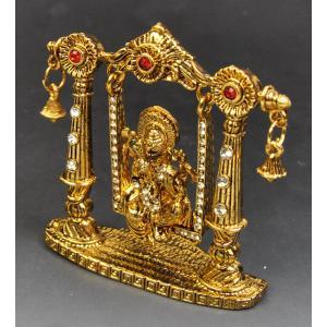インド雑貨 ガネーシャのオブジェ ブランコ乗り 金色 合金 ヒンドゥー教 ヒンズー エスニック DO-ST19314-10|mahanadi