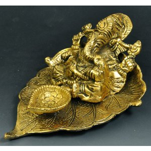 インド雑貨 ガネーシャのお香立て 金色 コーン香に 合金 ヒンドゥー教 ヒンズー エスニック DO-ST19314-3|mahanadi