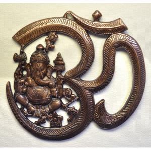インド雑貨 ガネーシャとオウムの壁飾り 合金 ヒンドゥー教 ヒンズー エスニック DO-ST19314-4|mahanadi