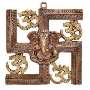 インド雑貨 ガネーシャと卍 オウムの壁飾り 合金 ヒンドゥー教 ヒンズー エスニック DO-ST19316-1|mahanadi
