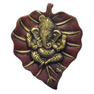 インド雑貨 ガネーシャと菩提樹を模した壁飾り 合金 ヒンドゥー教 ヒンズー エスニック DO-ST19316-2|mahanadi