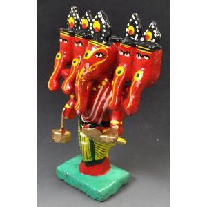 インドのキッチュな木製神像 五面ガネーシャ 彩色 アジアン雑貨|mahanadi