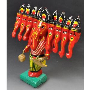 インドのキッチュな木製神像 九面ガネーシャ 彩色 アジアン雑貨|mahanadi