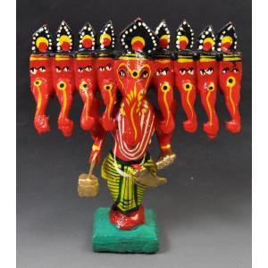 インドのキッチュな木製神像 九面ガネーシャ 彩色 アジアン雑貨|mahanadi|02