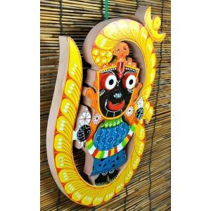 インド神像雑貨 ジャガンナータとオームの壁飾り オリッサ州の土着神 アジアン雑貨|mahanadi