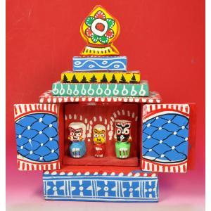 インドのジャガンナート三神の置物 祠型 (大) オリッサ インド雑貨 アジアン雑貨 mahanadi