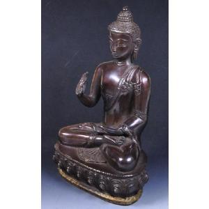 インドの真鍮仏像 施無畏与願印 仏陀 ブッダ ブラス 神像 アジアン雑貨 エスニック DO-ST72|mahanadi
