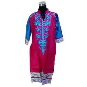 インド製エスニックシャツ七分袖 膝丈 レディースL  アジアン アラベスク 唐草 FU-F-CAS20501-1|mahanadi