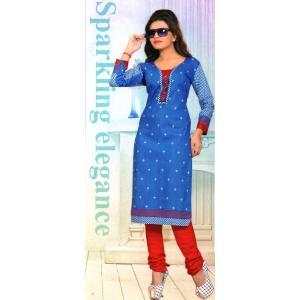 【アウトレット】インド製エスニックシャツ 青 七分袖 膝丈 レディースXL アジアン エスニックボタニカル柄 FU-F-CAS20502-1|mahanadi