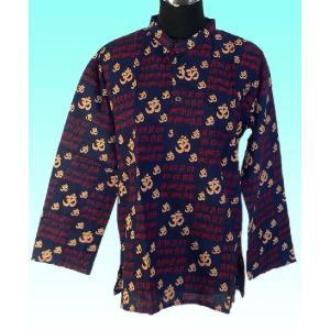 インド製サンスクリット アジアン エスニックシャツ レディースXL ヒッピー レイブ バックパッカー|mahanadi