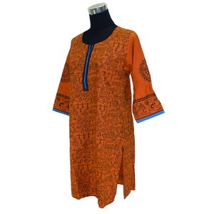 インド綿のアジアン・エスニックシャツ レディース 七分袖 ヒッピー FU-F-CAS287|mahanadi